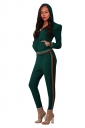 Womens Zipper Hoodie&High Waist Leggings Stripe Plain Suit Army Green