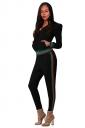 Womens Long Sleeve Hoodie&High Waist Leggings Stripe Plain Suit Black