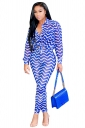 Womens Sexy Turndown Collar Pocket Tie Wave Printed Leisure Suit Blue