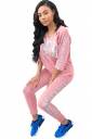 Womens V Neck 3/4 Length Sleeve Graphic Leisure Suit Pink
