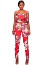 Womens Off Shoulder Crop Top&High Waist Pants Floral Printed Suit Red