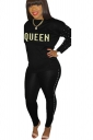 Womens Casual Graphic Long Sleeve Crew Neck Top&Pearl Pants Suit Black