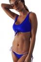 Womens Tie Push Up Bikini Top&String Swimsuit Bottom Sapphire Blue