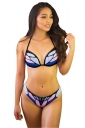 Womens Sexy Halter Backless Butterfly Printed String Bikini Suit Blue