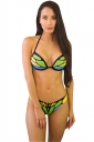 Womens Sexy Halter Backless Butterfly Printed String Bikini Suit Green