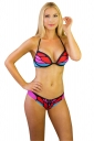 Womens Sexy Halter Backless Butterfly Printed String Bikini Suit Red