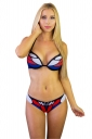 Womens Sexy Halter Butterfly Printed String Bikini Suit Sapphire Blue