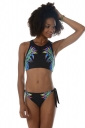Womens Sexy High Neck Swimsuit Top&String Swimsuit Bottom Black