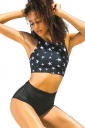 Womens Sexy Striped High Neck Swimsuit Top&High Waisted Bottom Black