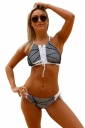 Womens Halter Lace Up Open Back Floral Printed Bikini Black And White