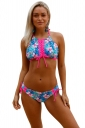 Womens Halter Lace Up Top&String Bottom Floral Print Bikini Turquoise