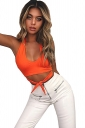 Womens U Neck Halter Backless Front Tie Plain Crop Tank Top Orange