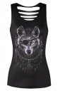 Womens Crew Neck One-Eyed Wolf Printed Cut Out Back Tank Top Black