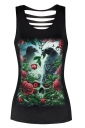 Womens Sexy Crew Neck Rose Eagle Printed Cut Out Back Tank Top Green