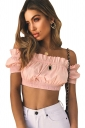Womens Sexy Off Shoulder Bandage Ruffle Hem Plain Crop Tank Top Pink
