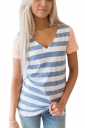 Womens Fashion V Neck Short Sleeve Stripe Color Block T-Shirt Blue