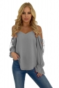 Womens V Neck Cold Shoulder Lace Up Bell Sleeve Plain T-Shirt Gray