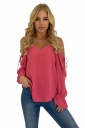 Womens V Neck Cold Shoulder Lace Up Bell Sleeve T-Shirt Watermelon Red