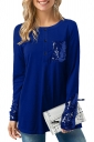 Womens Crew Neck Long Sleeve Sequined Patchwork Plain T-Shirt Blue