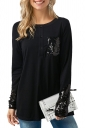 Womens Crew Neck Long Sleeve Sequined Patchwork Loose T-Shirt Black
