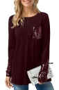 Womens Long Sleeve Single-Breasted Sequined Loose Plain T-Shirt Ruby