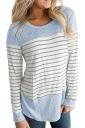 Womens Casual Color Block Long Sleeve Stripe Printed T Shirt Blue