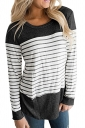 Womens Casual Color Block Long Sleeve Stripe Printed T Shirt Black