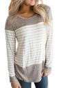 Womens Casual Color Block Long Sleeve Stripe Printed T Shirt Gray