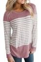 Womens Casual Color Block Long Sleeve Stripe Printed T Shirt Pink