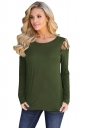 Womens Stylish Criss Cross Cold Shoulder Crew Neck T Shirt Army Green