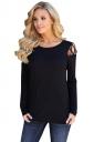 Womens Stylish Criss Cross Cold Shoulder Crew Neck T Shirt Black