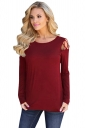 Womens Stylish Criss Cross Cold Shoulder Crew Neck T Shirt Ruby