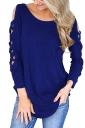 Womens Sexy Cold Shoulder Cut Out Long Sleeve Plain Blouse Blue