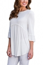Womens Casual Crew Neck 3/4 Length Sleeve Pleated Plain Blouse White