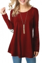 Womens Crew Neck Long Sleeve Back Button Design Loose T-Shirt Ruby