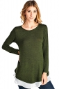 Womens Long Sleeve Color Block Chiffon Hem Loose Plain T-Shirt Green