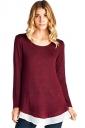 Womens Long Sleeve Color Block Chiffon Hem Loose Plain T-Shirt Ruby