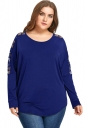Womens Sexy Crew Neck Lace Patchwork Oversized Plain T-Shirt Blue