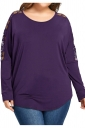 Womens Crew Neck Long Sleeve Lace Patchwork Oversized T-Shirt Purple
