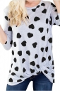 Womens Casual Long Sleeve Twist Crew Neck Heart Printed T Shirt Black