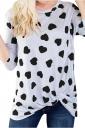 Womens Casual Long Sleeve Twist Crew Neck Heart Printed T Shirt Black