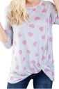 Womens Casual Long Sleeve Twist Crew Neck Heart Printed T Shirt Pink