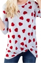 Womens Casual Long Sleeve Twist Crew Neck Heart Printed T Shirt Red