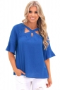 Womens Trendy Bell Sleeve Lace Criss Cross Cut Out T Shirt Blue