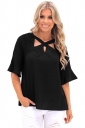 Womens Trendy Bell Sleeve Lace Criss Cross Cut Out T Shirt Black