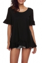 Womens Trendy Oversized Half Sleeve Ruffle Hem Plain Blouse Black