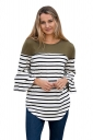 Womens Striped Flare Sleeve Curved Color Block T Shirt Army Green