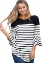 Womens Trendy Striped Flare Sleeve Curved Color Block T Shirt Black