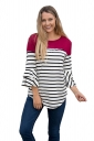 Womens Trendy Striped Flare Sleeve Curved Color Block T Shirt Rose Red