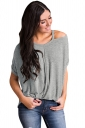 Womens Sexy Cold Shoulder Short Sleeve High Low Plain T Shirt Gray